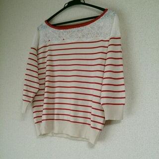 リランドチュール(Rirandture)のリラ☆美品フラワーレースボーダーニット(ニット/セーター)