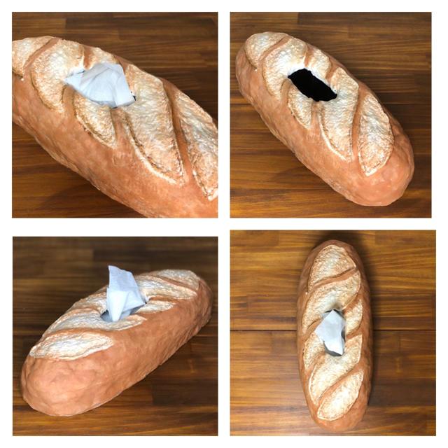 焼きたてフランスパンのティッシュカバー ハンドメイドのインテリア/家具(インテリア雑貨)の商品写真