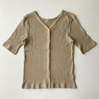 GU - 新品タグ付き【GU/ジーユー】スラブリブカーディガン(5分袖) Lサイズ