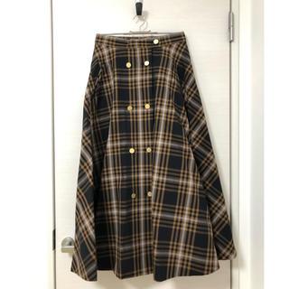 IENA - 金ボタンチェック柄スカート 38