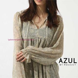 AZUL by moussy - 新品未使用品 アズールバイマウジー 楊柳シフォンプリントスキッパーブラウス