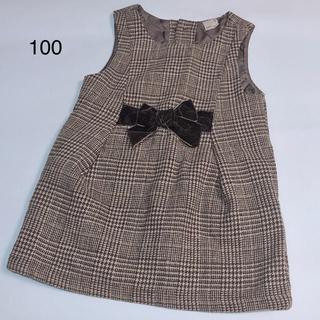 petit main - ★中古★ プティマイン ウエストリボンジャンパースカート 100