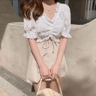 Cotton lace blous  ♡(シャツ/ブラウス(半袖/袖なし))