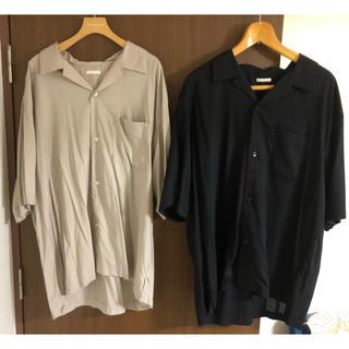 GU - GU ジーユー オープンカラーシャツ 五分丈 2枚セット 黒 グレー XL
