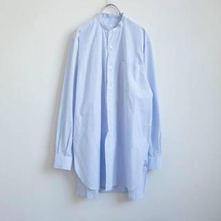 COMOLI - 18aw comoli バンドカラーシャツ サックス