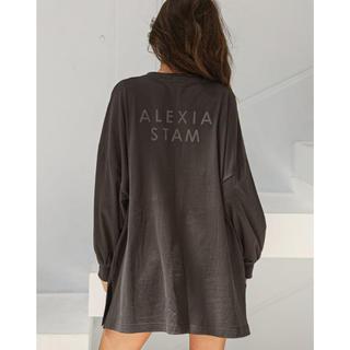 ALEXIA STAM - ALEXIASTAM Long Logo Tee charcoal
