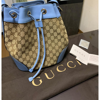 Gucci - GUCCI ショルダーバッグ 巾着 ブルー