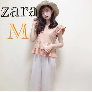 ZARA - 新品 ザラ フリル レザー風生地 ブラウス M