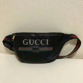 Gucci - GUCCI プリントレザー ベルトバッグ