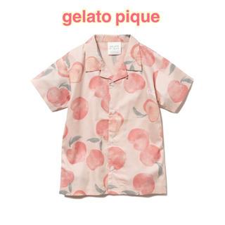ジェラートピケ(gelato pique)の【大人気♡】ジェラートピケ フルーツモチーフ ピーチ柄キッズシャツ✩.*《新品》(Tシャツ/カットソー)