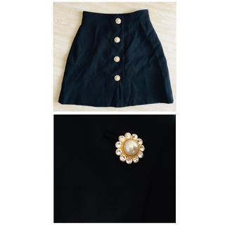 ミュウミュウ(miumiu)のmiumiu ミュウミュウ ビジュー ミニスカート 40 美品(ミニスカート)