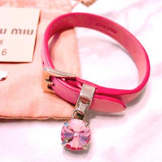 ミュウミュウ(miumiu)のmiumiu ミュウミュウ ビジュー ブレスレット かなり美品(ブレスレット/バングル)