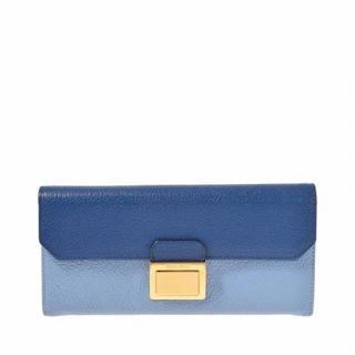 ミュウミュウ(miumiu)のミュウミュウ miumiu 長財布 マドラス 水色 青色 ブルー バイカラー(財布)