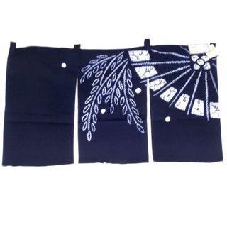 有松鳴海絞りのれん 日本の伝統工芸品 傘に柳柄 伝統工芸士2名による作品(のれん)