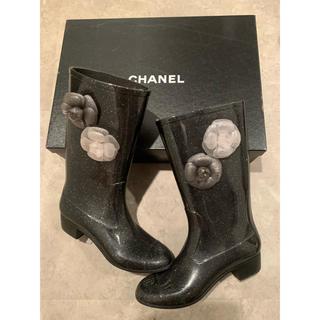 シャネル(CHANEL)のCHANEL ラメ レインブーツ カメリア(レインブーツ/長靴)
