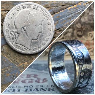 アメリカバーバーハーフダラーコインリング 銀貨 外国コイン加工(リング(指輪))