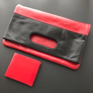 限定品❤️本革リアルレザークラッチバック&財布❤️黒赤
