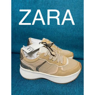 ZARA - ZARAコントラストメタリックメッシュアニマル柄スニーカー