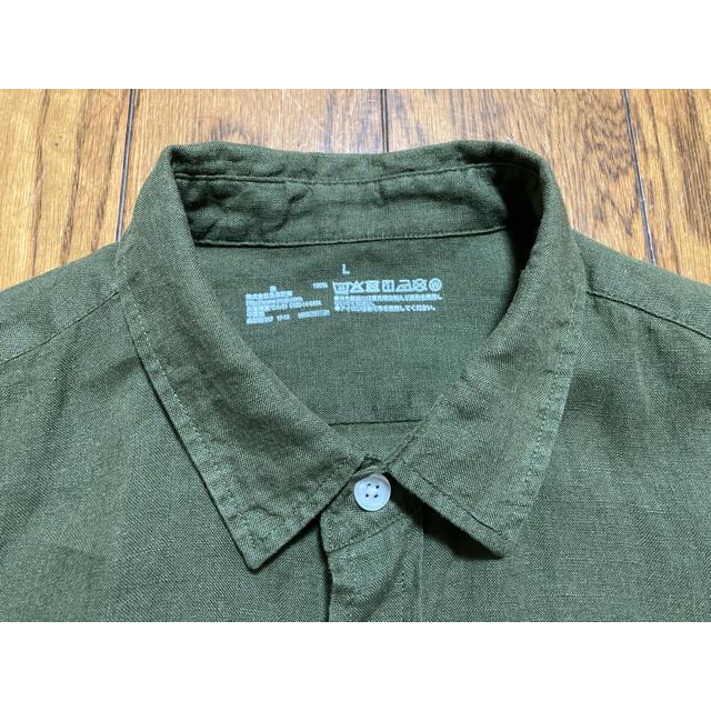 MUJI (無印良品)(ムジルシリョウヒン)の無印良品 MUJI 麻100% シャツ カーキ L 美品 メンズのトップス(シャツ)の商品写真