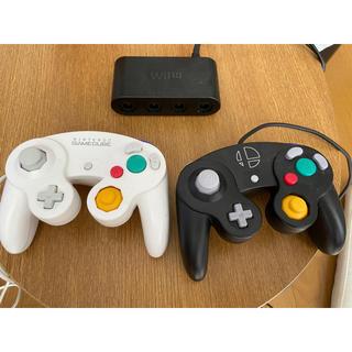 任天堂 - 純正ゲームキューブコントローラー接続タップとコントローラー2個
