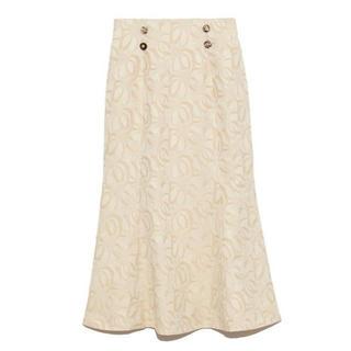 Lily Brown - フラワージャガードスカート OWHT