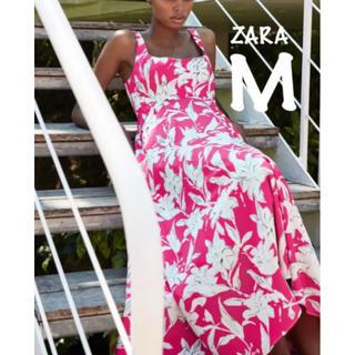 ZARA - 【新品・未使用】ZARA 花柄 ワンピース ミディ丈 M
