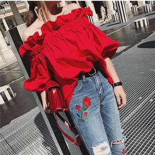 dholic - オフショルダー 赤 レッド 韓国ファッション 激安 セール