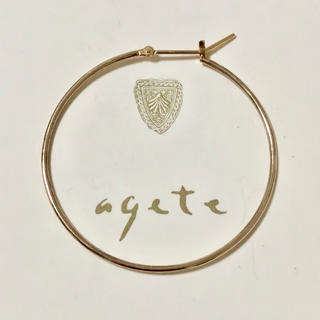 agete - アガット K10 フープピアス 片方 片耳 のみ 4cm 大きめ agete
