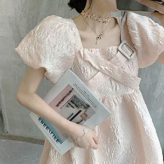 アメリヴィンテージ(Ameri VINTAGE)のFRONT CROSS JACQUARD DRESS.(ひざ丈ワンピース)