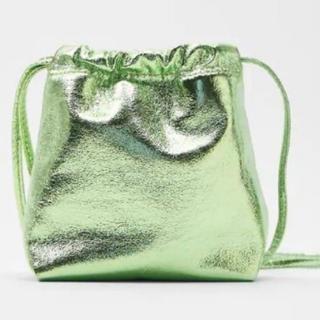 ZARA - 新品 ザラ ZARA 完売 メタリックミニバケットバッグ グリーン 緑
