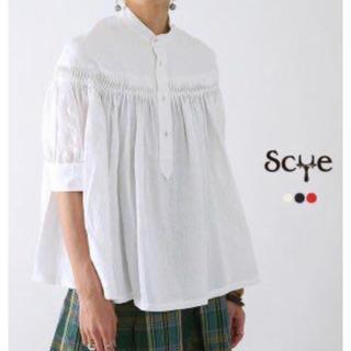サイ(Scye)のサイscyeリネンタックブラウス半袖白サイズ38(シャツ/ブラウス(半袖/袖なし))
