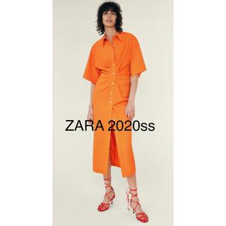ZARA - 新品 ZARA 2020ss  ドレープ入りシャツワンピース