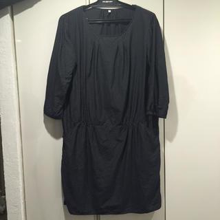 ムジルシリョウヒン(MUJI (無印良品))の薄手 ドット濃紺チュニック L(ひざ丈ワンピース)