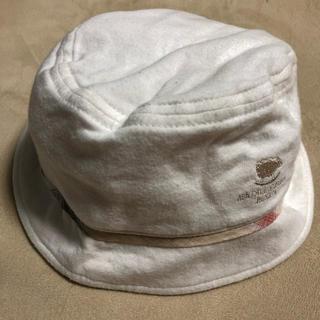 バーバリー(BURBERRY)のこども 帽子 バーバリー ベビー 綿 白(46cm) 子ども キッズ 外出 子供(帽子)