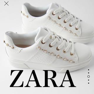 ZARA - ZARA フェイクパール スタッズ スニーカー 37