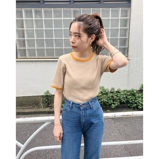 Kastane - 今期予約品 着回し万能 Kastane 細リブリンガーボーダーTシャツ