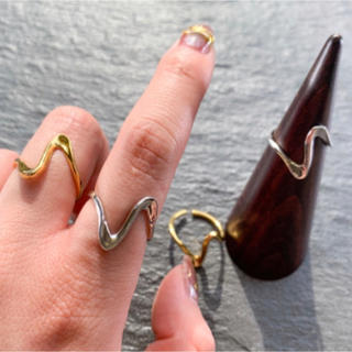 Ameri VINTAGE - かくかくリング ゴールド シルバー アクセサリー 925 指輪 vintage