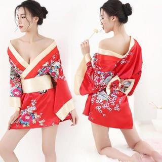 ❀花魁 赤色 セクシー着物 和服 コスプレ 衣装 浴衣 花柄 キャバドレス