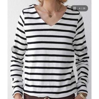 アンティカ(antiqua)のアンティカ ボーダーVネック綿ロンT オフホワイト S(Tシャツ(長袖/七分))