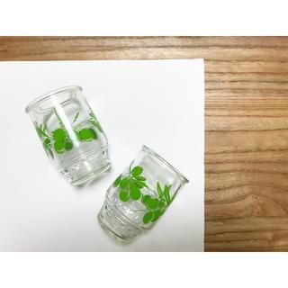 H.P.FRANCE - 昭和レトロなグラス🍋美品 オリーブ柄レトログラス タンブラー ペアグラス2点