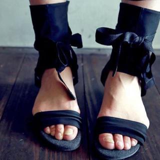 アンティカ(antiqua)の【ほぼ未使用】antiqua ブーツサンダル 黒 Lサイズ(サンダル)