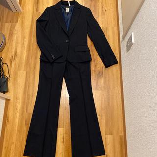 ミッシェルクラン(MICHEL KLEIN)のミッシェルクラン「カシミヤ混シャドーストライプのパンツスーツ ネイビー」美品♪(スーツ)