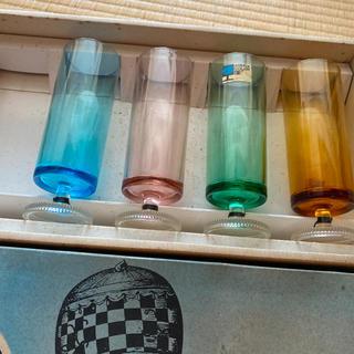 トウヨウササキガラス(東洋佐々木ガラス)のアデリア 脚付グラス 4色セット 未使用デッドストック(グラス/カップ)