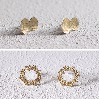 ミナペルホネン(mina perhonen)の[まとめ割]ふっくらちょうちょ お花のリース / 真鍮ピアス(ピアス)
