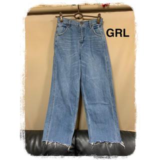 GRL - 《GRL》裾切りっぱなしデニムワイドパンツ