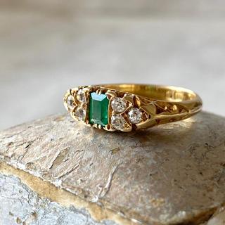 アンティーク 1885年 エメラルド ダイヤモンド 18金リング お直し無料