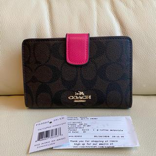 COACH - ✯新品✯ COACH 二つ 折り財布 ブラック ローズピンク シグネチャー♪
