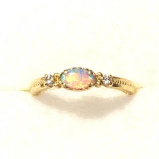 お値下げ K18 オパール ダイヤリング(リング(指輪))