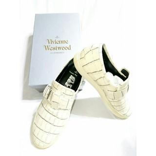 ヴィヴィアンウエストウッド(Vivienne Westwood)のVivienne Westwood MAN/クロコダイル型押し ホワイトスニーカ(スニーカー)