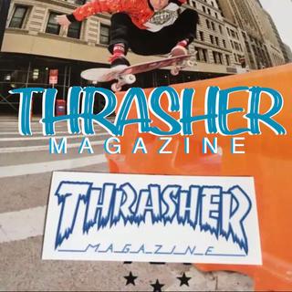 スラッシャー(THRASHER)のTHRASHERスラッシャーUS限定 デザイン ロゴバナー ステッカー ラスト1(スケートボード)